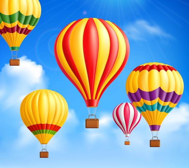 Fondo de globos de aire caliente
