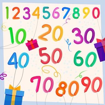 Fondo de globos de aniversario