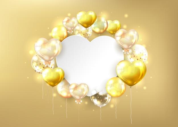 Fondo de globos brillantes dorados y espacio de copia en blanco en forma de corazón
