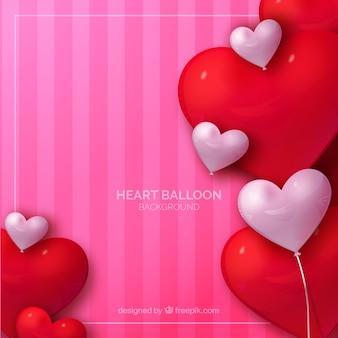 Fondo de globos coloridos con forma de corazón en estilo realista