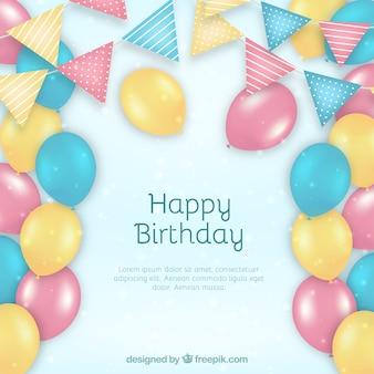 Fondo de globos de cumpleaños en color pastel