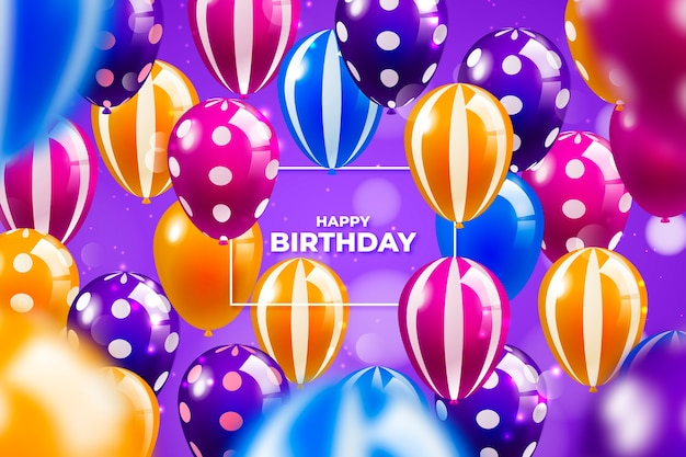 Fondo de globos de cumpleaños colorido realista
