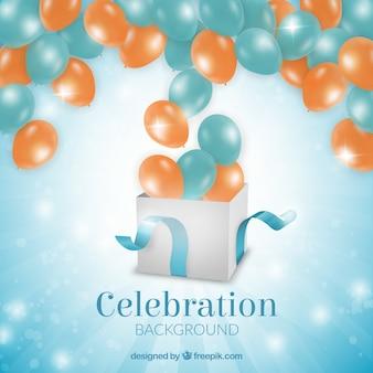 Fondo con globos de cumpleaños saliendo de un regalo