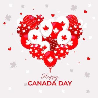 Fondo de globos del día de canadá dibujado a mano