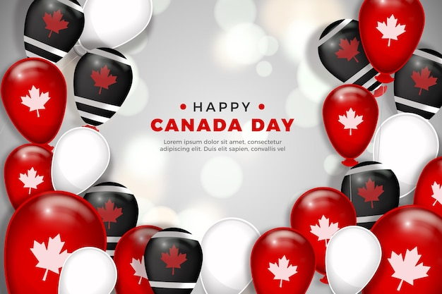 Fondo de globos del día de canadá en diseño plano