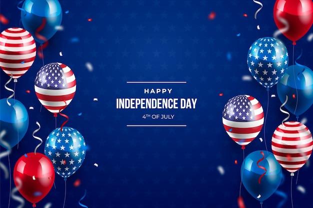 Fondo de globos del día de la independencia del 4 de julio
