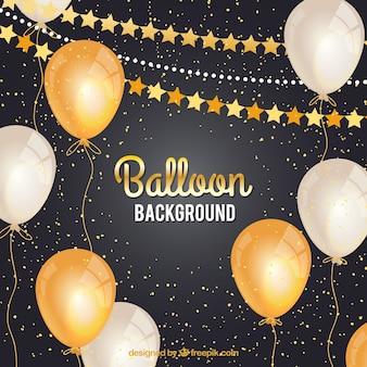 Fondo de globos dorados y blancos para celebrar