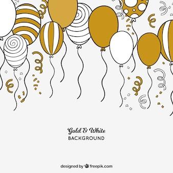 Fondo de globos dorados y blancos
