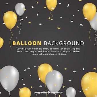 Fondo de globos dorados y grises para celebrar