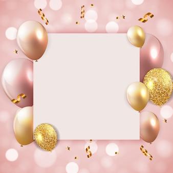 Fondo de globos de feliz cumpleaños brillante con ilustración de vector de plantilla de papel blanco