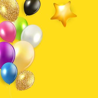 Fondo de globos feliz cumpleaños brillante