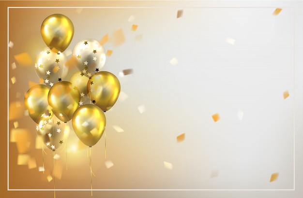 Fondo de globos feliz cumpleaños