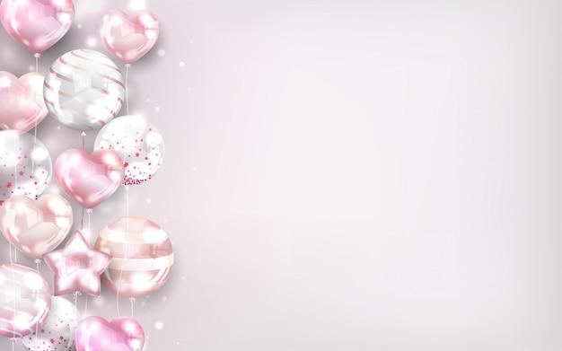 Fondo de globos de oro rosa con espacio de copia.