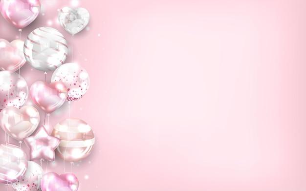 Fondo de globos de oro rosa para san valentín y celebración.