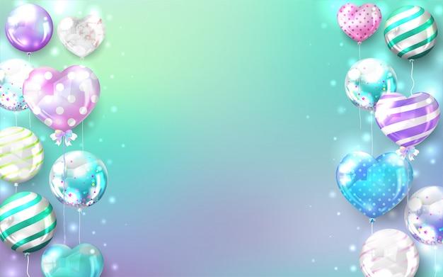 Fondo de globos pastel para cumpleaños y tarjeta de celebración.