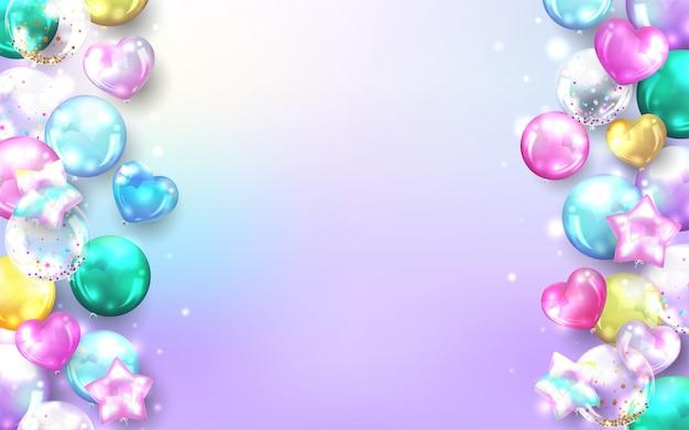 Fondo de globos pastel para tarjeta de feliz cumpleaños.