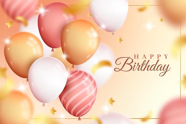Fondo de globos realista feliz cumpleaños lindo