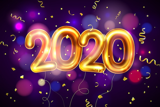 Fondo de globos realistas de año nuevo