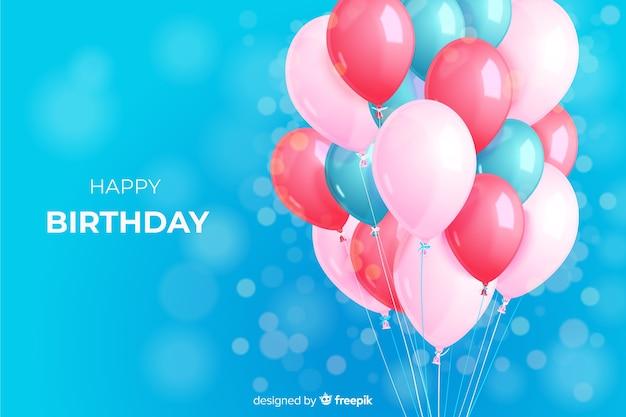 Fondo de globos realistas de fiesta de cumpleaños