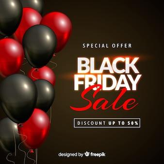 Fondo con globos de rebajas de black friday en rojo y negro