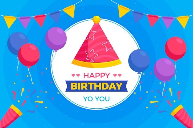 Fondo de globos y sombrero de fiesta de cumpleaños