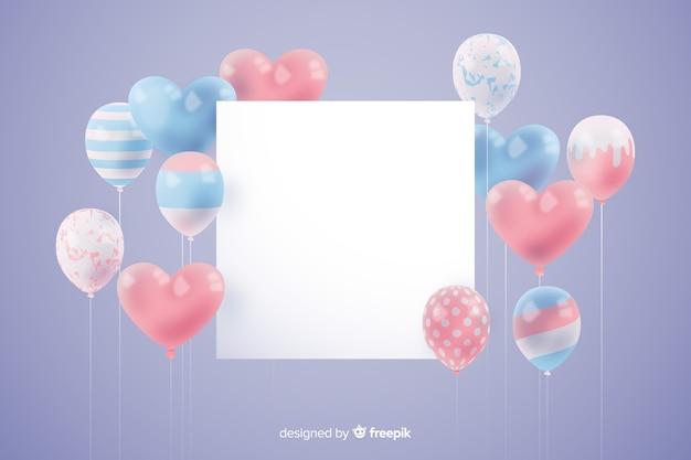 Fondo de globos tridimensionales y brillantes con banner vacío