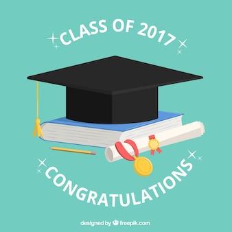 Fondo de gorro de graduación con libro y diploma