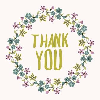Fondo de gracias con corona de flores