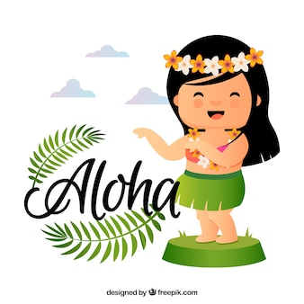 Fondo de graciosa muñeca hawaiana