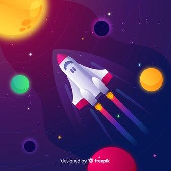 Fondo gradiente del espacio con cohete