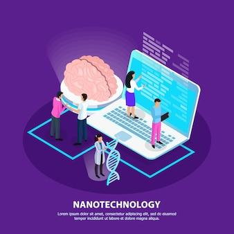 Fondo de gradiente isométrico de nano tecnología