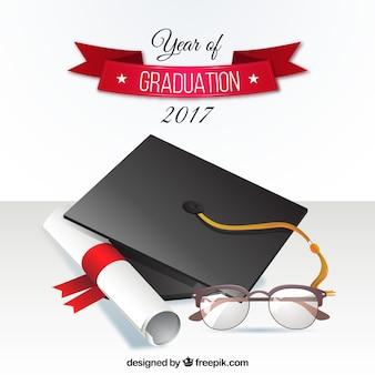 Fondo de graduación 2017 con birrete y diploma