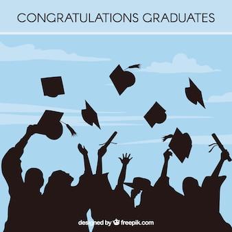 Fondo de graduación azul con siluetas de estudiantes