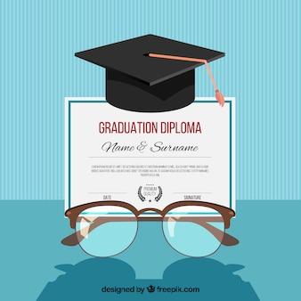 Fondo de graduación con birrete y gafas