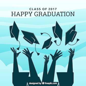 Fondo de graduación con siluetas de graduados