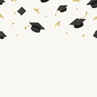Fondo de graduación con vector de tableros de mortero