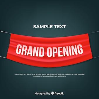 Fondo de gran apertura con banner de tela realista