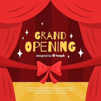 Fondo gran apertura cinta roja plana con cortinas