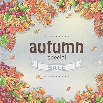 Fondo de una gran venta de otoño con la imagen de hojas de otoño, castañas, bellotas y bayas de viburnum