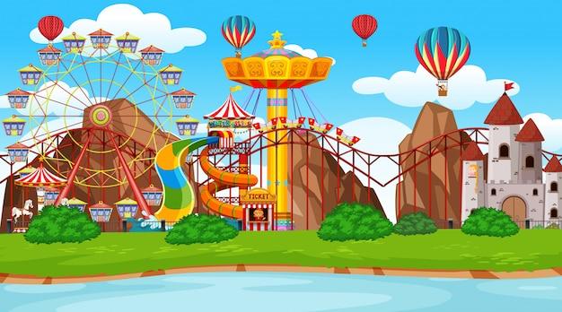 Fondo grande de la escena del parque de atracciones