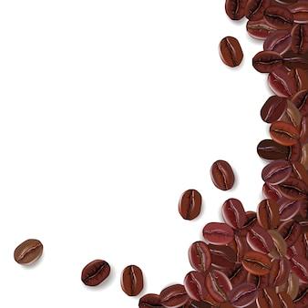 Fondo con granos de café realistas y un lugar para el texto.