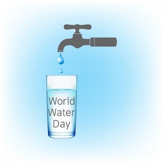 Fondo con un grifo goteando para el día mundial del agua