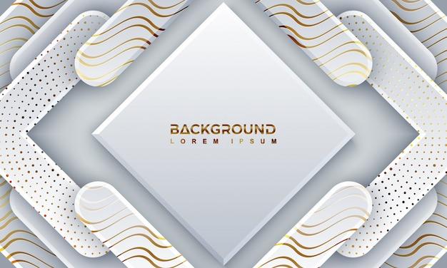 Fondo gris abstracto del papercut con las líneas de oro brillantes.