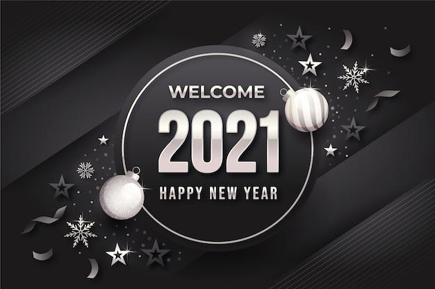 Fondo gris año nuevo con elementos plateados