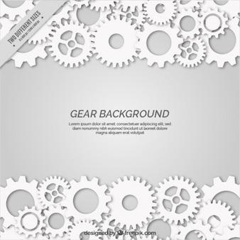Fondo gris con engranajes blancos en estilo plano