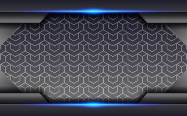 Fondo gris moderno abstracto futuro tecnología con línea de luz azul en geométrica.