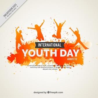 Fondo grunge de acuarela del día de la juventud