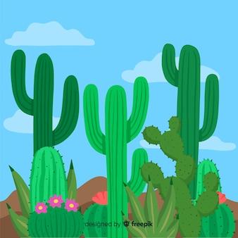 Fondo grupo de cactus dibujado a mano
