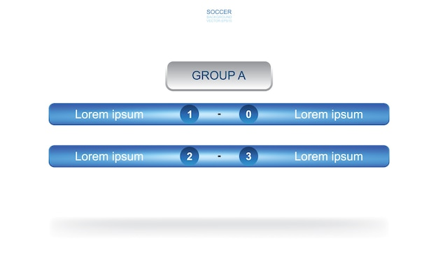 Fondo de grupo de equipo de calendario de partidos para la copa de fútbol del campeonato mundial de fútbol. calendario de torneos de fútbol soccer.