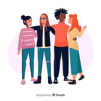 Fondo de grupo de gente joven abrazándose